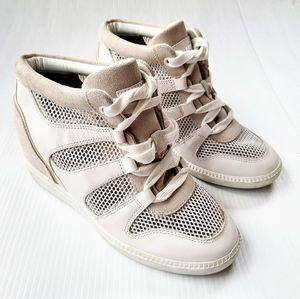 MICHAEL KORS white hidden wedge platform sneakers